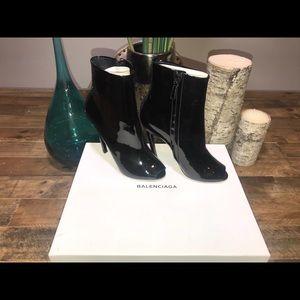 New Women Balenciaga Black Patent Open-toe Booties